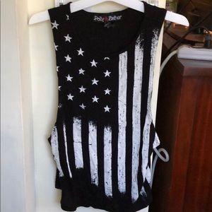 American Flag black tank top